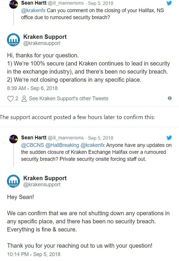 Биржа Kraken отрицает хакерскую атаку и закрытие офиса в Канаде